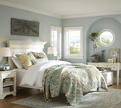 blue walls with white window frames