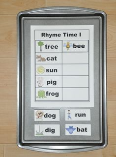 Rhyming Words Cookie Sheet Activity. Modify for notes and counting, Italian and English definitions. The possibilities are large!!