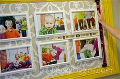 This is awesome--- yellow frame attached to wall, vinyl designs as matting, and white framed photos attached to wall