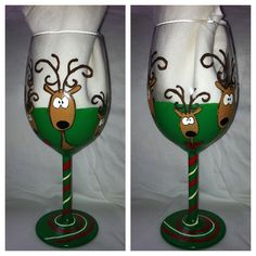 Hand Painted Christmas Wine Glasses - Bing Images | Wine ...