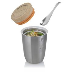 The classic soup thermos goes gourmet with the Thermo Pot. It consists of a stainless steel vacuum flask designed to keep your meal piping hot or ice cold for five hours. With a magnetic spoon affixed to the side and a screw-on cork top, it's ready to hit the road when you are.