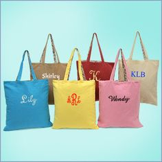 personalized canvas totes | love these for bridesmaid gifts.
