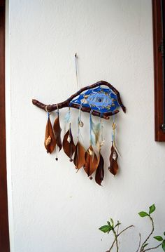 blue wall hanging patio garden decor dreamcatcher natural sea shells yarn materials driftwood eye fish one of a kind unique bohemian outdoor by SiriusImagination on Etsy