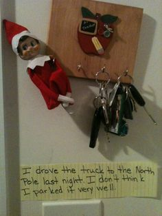 Elf on the Shelf : Caught driving! Think we will do this with the chalkboard for a note and then park the car slanted in the drive way. Christmas Holidays, Xmas, Christmas Music, Funny Christmas, Christmas Lights, Awesome Elf On The Shelf Ideas, Elf Magic, Elf On The Self, Naughty Elf
