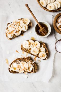 Almond Butter Toast With Bananas And Toasted Coconut