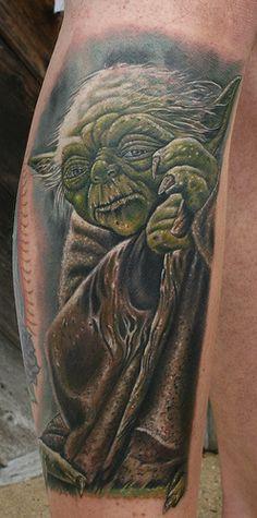 Yoda Tattoo - Tattooed by Award Winning Tattoo Artist Ty Pallotta.  www.777tattoos.com