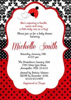 ladybug baby shower birthday party digital invitation