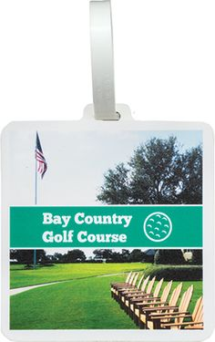 New 2017 Golf Products! www.imprintgolf.com 401-841-5646. Full color golf bag tag. Plastic with channel on one side and with strap. Golf Tournament Gifts & Giveaways with your logo!