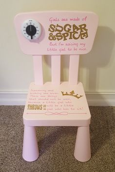 personalized sugar and spice time out chair with timer swirly twirly designs pinterest. Black Bedroom Furniture Sets. Home Design Ideas