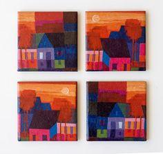 "Ceramic coasters, Ton Schulten painting ""Summer"", set of 4. $30.00, via Etsy."