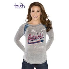 New England Patriots Touch by Alyssa Milano Formation Long Sleeve Tee-Gray