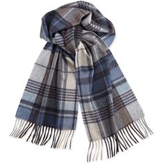 Colombo Cashmere Plaid Scarf, Blue