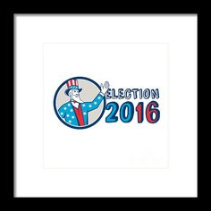 Election 2016 Uncle Sam Hand Up Circle Retro Framed Print By Aloysius Patrimonio