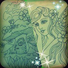fairy and mushroom house tattoo