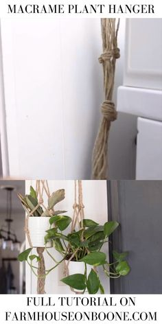 This simple macrame plant hanger DIY is perfect for spring It is an easy and inexpensive project costing less than 2 Whip up several macrame plant holders to put near every window in your home Diy Crafts Videos, Diy Crafts To Sell, Home Crafts, Diy Projects Videos, Diy Home Projects Easy, Diy Home Decor Easy, Etsy Crafts, Diy Simple, Easy Diy