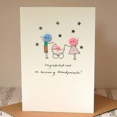 Baby Cards personalised 'button pram' handmade card by hannah shelbourne designs Cute Cards, Diy Cards, Karten Diy, Button Cards, New Baby Cards, Handmade Birthday Cards, Watercolor Cards, Creative Cards, Homemade Cards