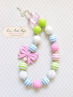 Pastel Theme with Pink Bows Chunky Bubble Gum Necklace - Photo Prop Fashion Accessory Little Girl Jewelry, Baby Jewelry, Kids Jewelry, Beaded Jewelry, Handmade Jewelry, Chunky Bead Necklaces, Bubble Necklaces, Chunky Beads, Girls Necklaces