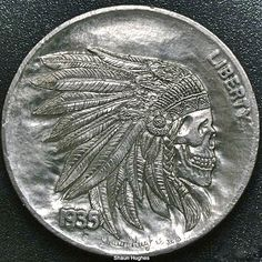 SHAUN HUGHES HOBO NICKEL: INDIAN CHIEF SKULL WITH HEADDRESS