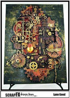 Steampunk Canvas for Scrap FX Steampunk Cards, Steampunk Book, Steampunk Fashion, Collage Art Mixed Media, Mixed Media Canvas, Altered Canvas, Altered Art, Mixed Media Scrapbooking, Diy Buttons