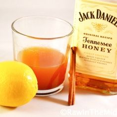 A warm, soothing hot toddy made with Jack Daniels Tennessee Honey whiskey, cinnamon, lemon, and honey.