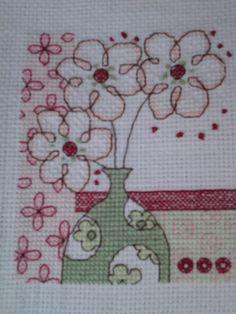 Vase of flowers contemporary cross stitch from a Cross Stitcher magazine pattern.