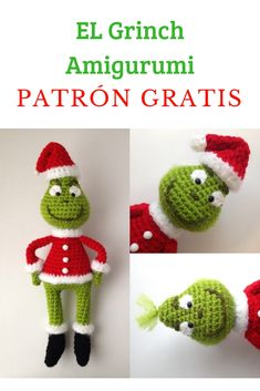 Häkelanleitung Grinch Crochet toys The Grinch Amigurumi Crochet Doll Pattern, Crochet Toys Patterns, Crochet Patterns Amigurumi, Crochet Dolls, Crochet Yarn, Knitting Patterns, Amigurumi Tutorial, Amigurumi Doll, Crochet Christmas Decorations