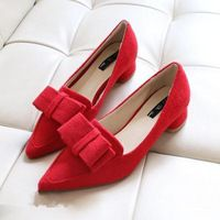 Han edition bowknot suede shallow pointed mouth high heels fashion footwear intellectual OL joker sheet women shoes