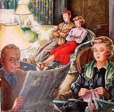 Namoro com TV, 1949 Ilustração, capa, Saturday Evening Post, 1º de outubro de 1949 Constantin Alajalov ( Rússia, 1900 — EUA, 1987)