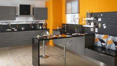 Cuisine mur orange