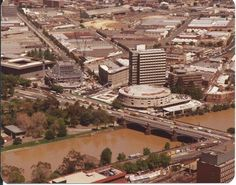 Looking out towards southbank 1980. Hammer hall and the spire under construction.