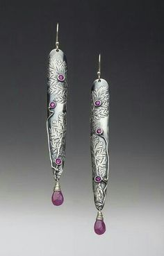 Beautiful Earrings by Sugatha Roeder Metal Clay Rings, Metal Clay Jewelry, Enamel Jewelry, Jewelry Art, Jewellery, Unusual Jewelry, Ethnic Jewelry, Artisan Jewelry, Handmade Jewelry