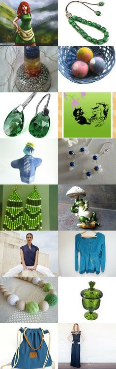 FlorenceJewelshop presents: the green and blue beauties by Florence on Etsy--Pinned with TreasuryPin.com