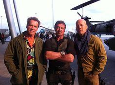 The expendables 2 forgatás - Arnold Schwarzenegger, Sylvester Stallone, Bruce Willis,