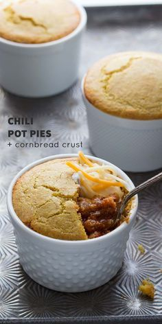 Use up your leftover chili in these individual-sized chili pot pies which are topped with a  delicious cornbread crust! Ready in 35 minutes!