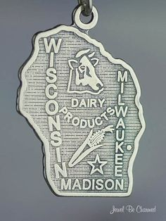 Wisconsin Charm Sterling Silver State America USA. $11.95, via Etsy.