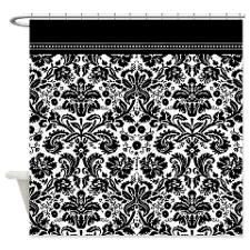 Black And White Damask Shower Curtain tiffany blue, black and white damask shower curtain - monogrammed