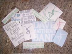 DMB Dave Matthews Band Decal Set of 11 stickers by nockonwood, $25.00