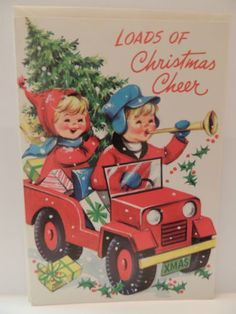 Vintage Christmas Greeting Card 1960's Unused Old Red Jeep W Toys Kid's Driving
