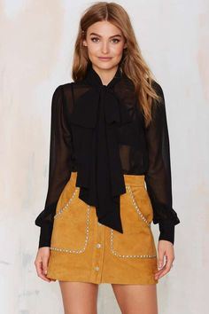 In love with the Nasty Gal Marianne Pussy Bow Blouse! Sheer perfection.