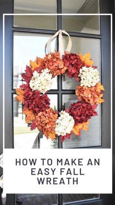 Easy Fall Wreaths, Diy Fall Wreath, How To Make Wreaths, Wreath Ideas, Autumn Wreaths For Front Door, Fabric Pumpkins, Fall Pumpkins, Fall Door Decorations, Felt Leaves