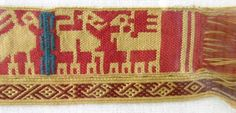 """Marijke's reproduction of  a tablet-woven band which belonged to  Bathilde, Queen of the Franks  (7th Century) which was found among other textile fragments in Chelles Abbey. Look at the little """"pebbly"""" figures that run along the bottom edge of the band. They could be woven using the Andean Pebble Weave structure."""