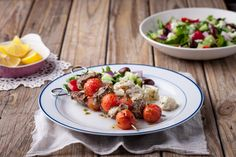 Greek Lamb and Oregano Skewers, Lemon and Garlic Potatoes: A Mediterranean inspired meal that is simple but bursting with flavour