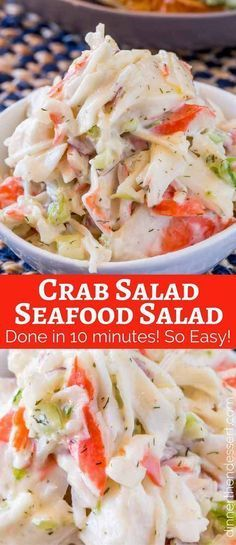Crab Salad with celery and mayonnaise is a delicious and inexpensive delicious way to enjoy the classic Seafood Salad we all grew up with. Seafood Dip, Subway Seafood And Crab Recipe, Seafood Appetizers, Seafood Meals, Subway Seafood Salad Recipe, Appetizers With Meat, Seafood Pasta Salads, Seafood Soup Recipes, Seafood Bake