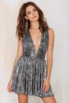 Nasty Gal Gilt Trip Metallic Dress - Silver - Lights Down Low | Going Out | Fit-n-Flare | Dresses | Cyber Monday Dresses and One Pieces