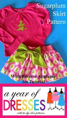 Tie Dye Diva Patterns: A Year of Dresses: Sugarplum Skirt and Reverse Applique Tee Tutorial