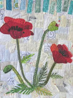 Poppy ticker tape quilt detail