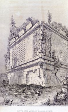 The House of Nuns in Uxmal Mexico Engraving from Incidents of Travel in Central America Chiapas and Yucatan by John Lloyd Stephens 1844 Aztec Architecture, Indian Temple Architecture, Ancient Aliens, Ancient History, Art History, Tikal, Aztec Art, Mesoamerican, Ancient Mysteries