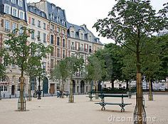 The calm and peaceful Place Dauphine (the Dauphin Square, founded in 1607) at Ile de la Cite, the historic centre of Paris, France.