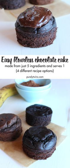 Flourless Chocolate Cake Recipe - Easy & Gluten-Free! A chocolate cake recipe for just about anyone to eat - they are gluten-free, grain-free, dairy-free with egg-free option. This paleo cocoa cake is absolutely amazing. 4 different recipe options for you.
