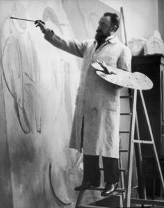 Matisse at work on 'Bathers by a River', photo by Alvin Langdon Coburn,1913